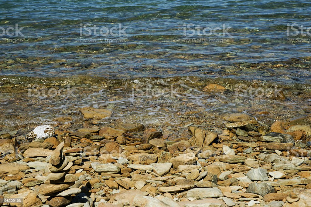 Tropical looking stoney beach. royalty-free stock photo