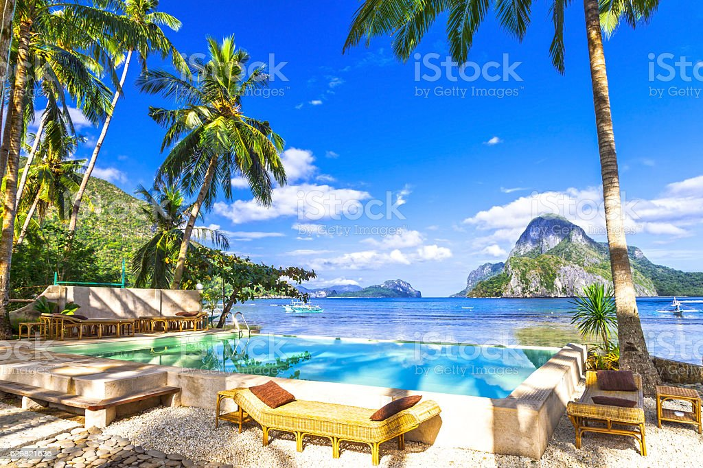 tropical luxury holidays in El Nido. Philippines stock photo