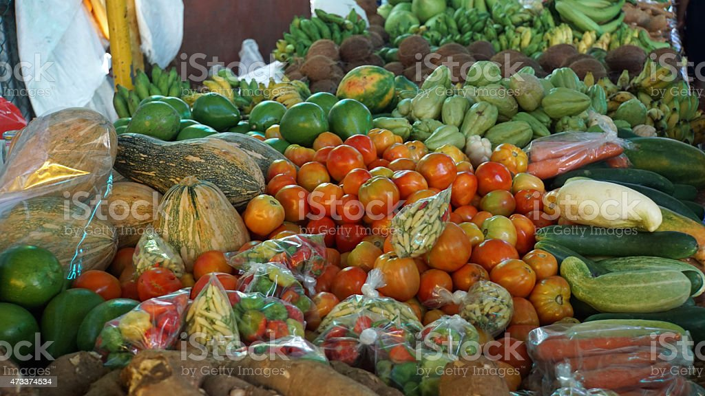 tropical market stock photo