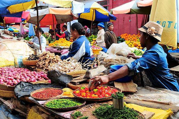 Tropical market scene stock photo
