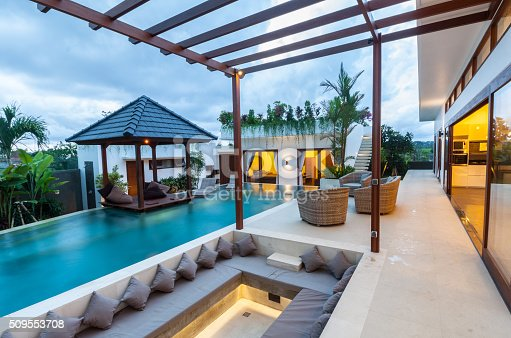 istock Tropical modern villa exterior 509553708