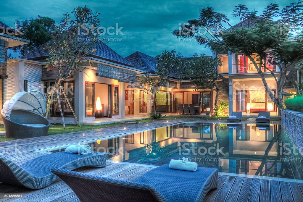 Tropical modern villa stock photo