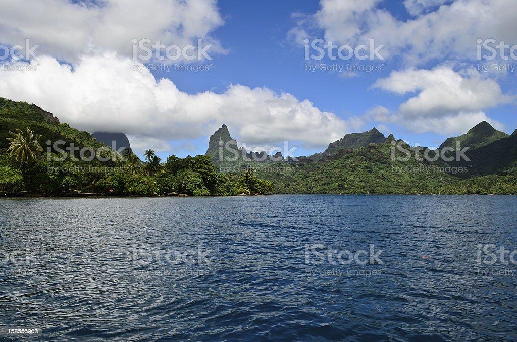 열대 무레아섬 스카이라인 royalty-free 스톡 사진