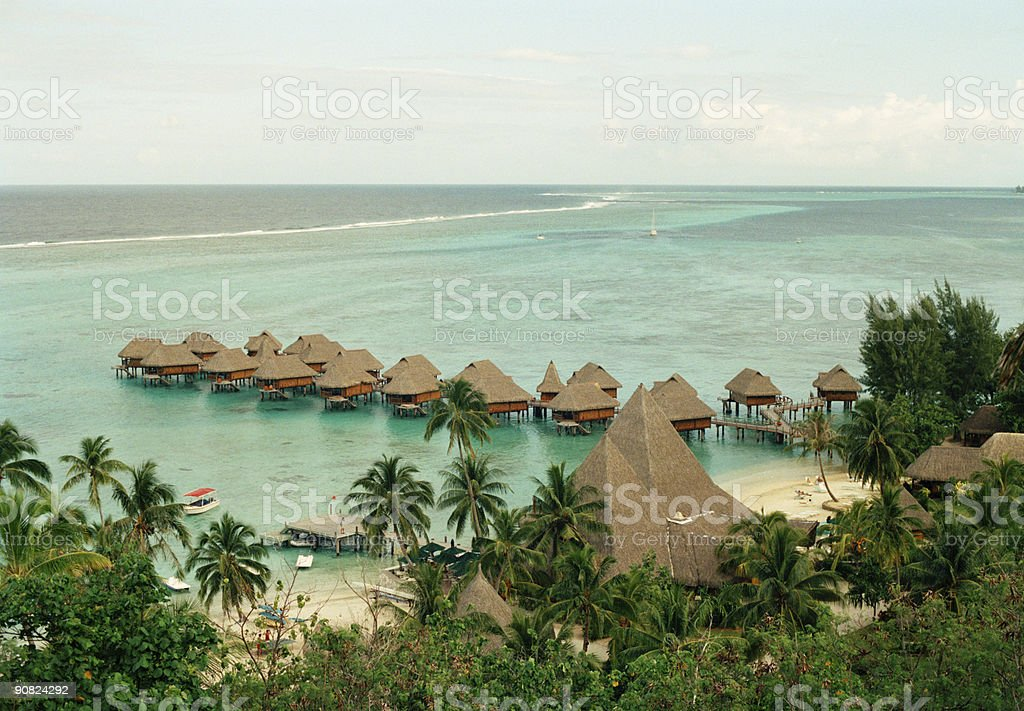 Tropical Over water bungalows (XXL) royalty-free stock photo