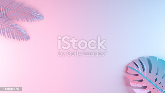 3D rendering Palm leaves, neon colored, pink and blue colors background.