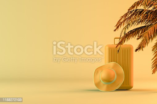 1153498948 istock photo Tropical palm tree and suitcase, minimal summer and travel concept 1153272103