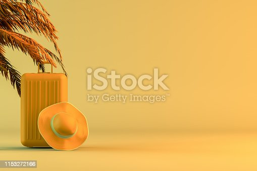 1153498948 istock photo Tropical palm tree and suitcase, minimal summer and travel concept 1153272166