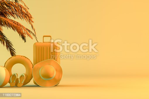 1153498948 istock photo Tropical palm tree and suitcase, minimal summer and travel concept 1153272364
