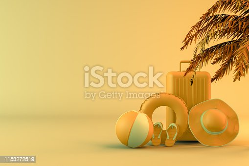 1153498948 istock photo Tropical palm tree and suitcase, minimal summer and travel concept 1153272519