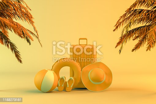 1153498948 istock photo Tropical palm tree and suitcase, minimal summer and travel concept 1153273151