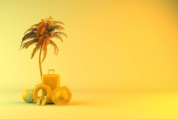 Tropische Palme und Koffer, minimales Sommer-und Reisekonzept – Foto