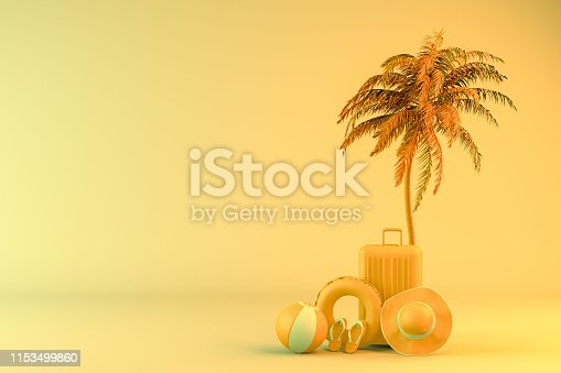 1153498948 istock photo Tropical palm tree and suitcase, minimal summer and travel concept 1153499860