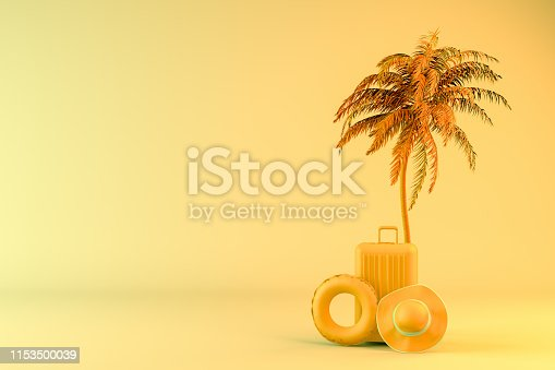 1153498948 istock photo Tropical palm tree and suitcase, minimal summer and travel concept 1153500039