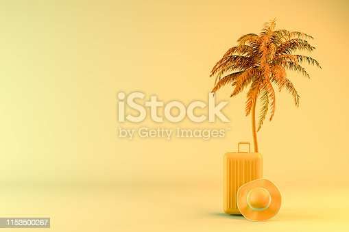 1153498948 istock photo Tropical palm tree and suitcase, minimal summer and travel concept 1153500267