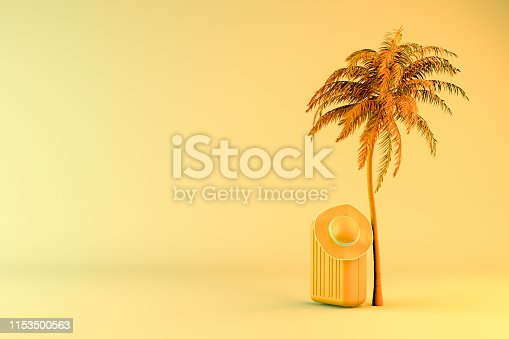 1153498948 istock photo Tropical palm tree and suitcase, minimal summer and travel concept 1153500563