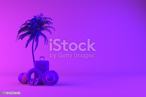 1153498948istockphoto Tropical palm tree and suitcase on neon color background, minimal summer and travel concept 1134520445