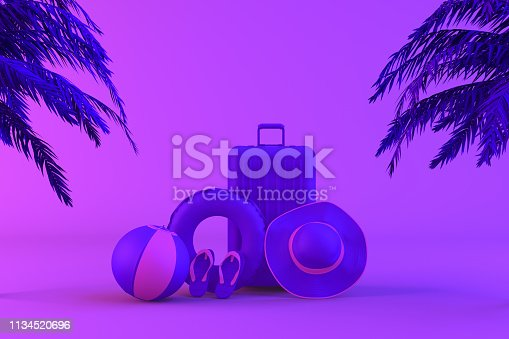 1153498948istockphoto Tropical palm tree and suitcase on neon color background, minimal summer and travel concept 1134520696