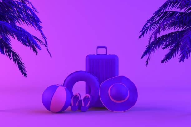tropische palme und koffer auf neonfarbenem hintergrund, minimales sommer-und reisekonzept - neontasche stock-fotos und bilder