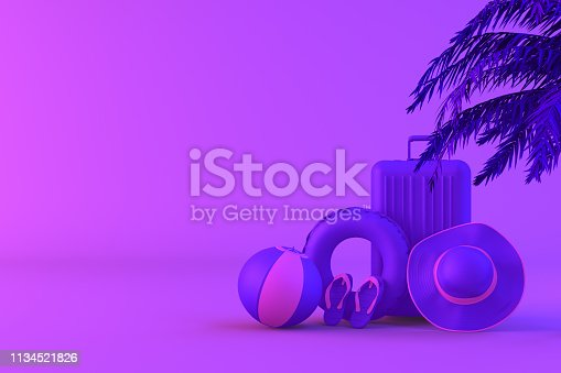 1153498948istockphoto Tropical palm tree and suitcase on neon color background, minimal summer and travel concept 1134521826