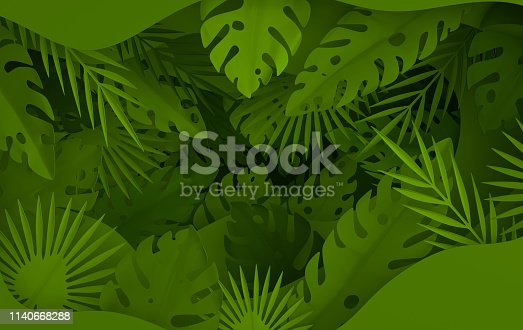istock Tropical paper palm leaves frame. Summer tropical green leaf and paper hole layers. Origami exotic hawaiian jungle foliage, summertime background. Paper cut. Minimal style. 3d render 1140668288