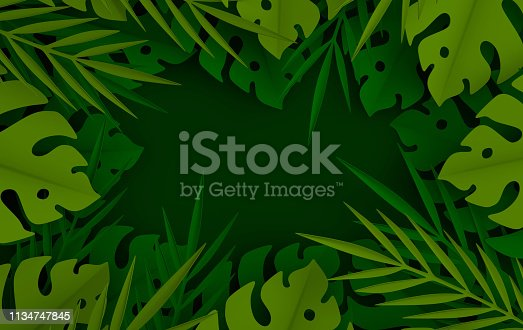 istock Tropical paper palm leaves frame. Summer tropical green leaf. Origami exotic hawaiian jungle foliage, summertime background. Paper cut. Minimal style. 3d render 1134747845