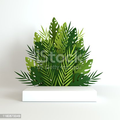 istock Tropical paper palm, monstera leaves and flowers frame, podium platform for product presentation. Summer tropical leaf. Origami exotic jungle, summertime background. Paper cut 3d render 1160870049