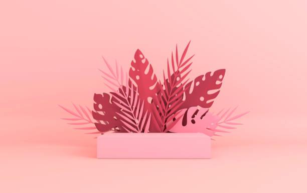 トロピカルペーパーパーム、モンスターリーフフレーム、製品プレゼンテーションのための表彰台プラットフォーム。夏の熱帯の葉。折り紙エキゾチックなハワイのジャングル、夏の背景。� - 3d ストックフォトと画像