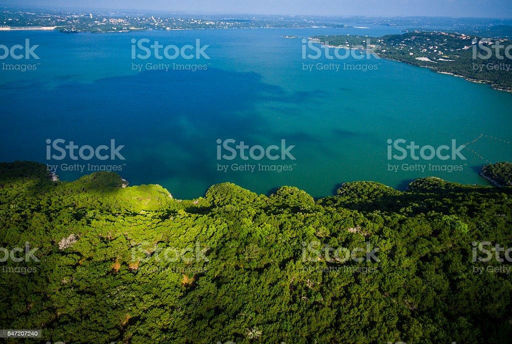 Tropical Paradise at Lake Travis Austin Texas stock photo