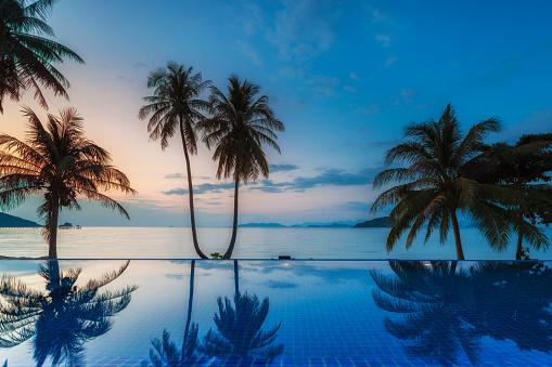 Tropical paradise Beach in the evening at Koh Mak Island, Trat Thailand