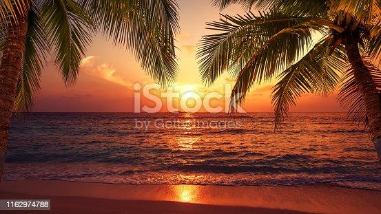 Tropical paradise beach sunset