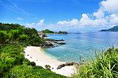 自然のままの白い砂浜、緑、ターコイズブルーの海と、座間味島の深い青い晴れた空のトロピカルパラダイス、沖縄、日本