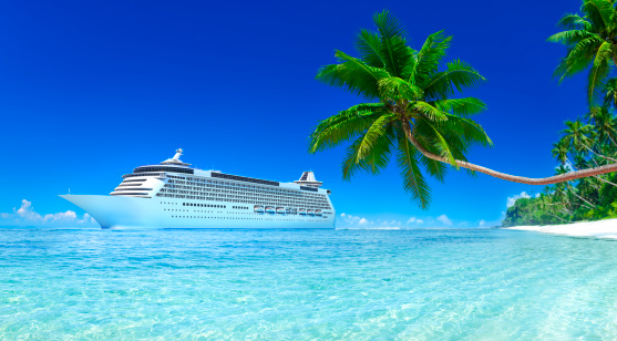 Our designed 3D rendered Cruise ship with blue Sky, Turquoise sea and white sand, green palm trees.