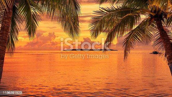 Tropical Paradise Sunset Copy Space Scene