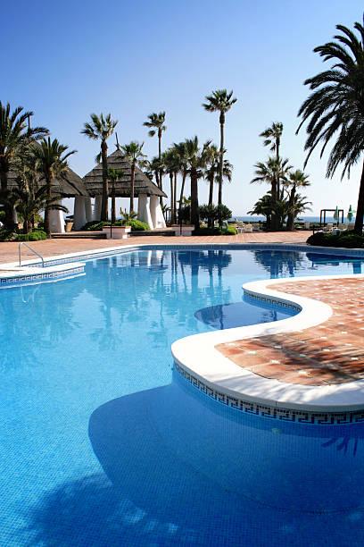 Tropical pool beside the sea stock photo