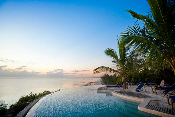 Tropical pool resort overlooking the Indian Ocean A picture of paradise. Indian Ocean off the coast of Zanzibar.  infinity pool stock pictures, royalty-free photos & images