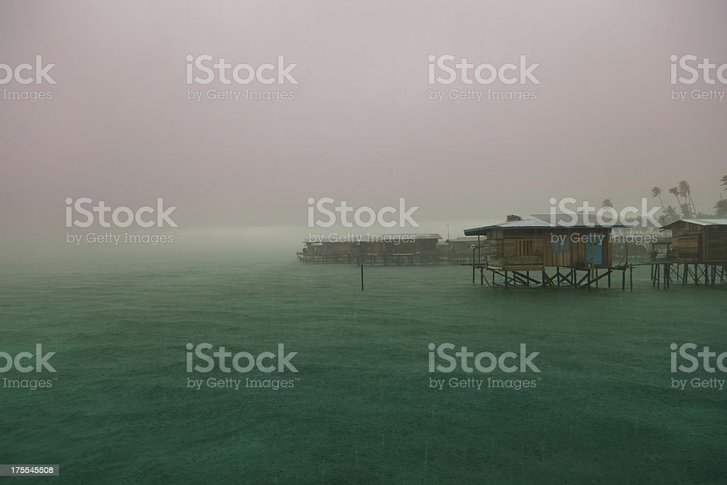 Tropical rain in Southeast Asia royalty-free stock photo