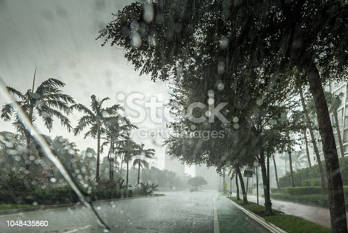 Tropical torrential rain in Miami Beach.