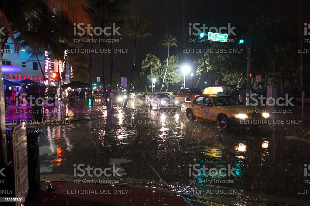 Tropical Rain Storm At Night South Beach Miami Ocean Drive Royalty Free Stock Photo
