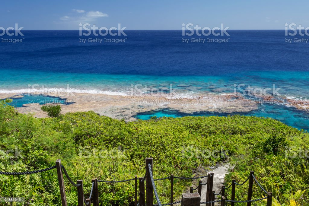 Tropical reef flats on the island of Niue stock photo