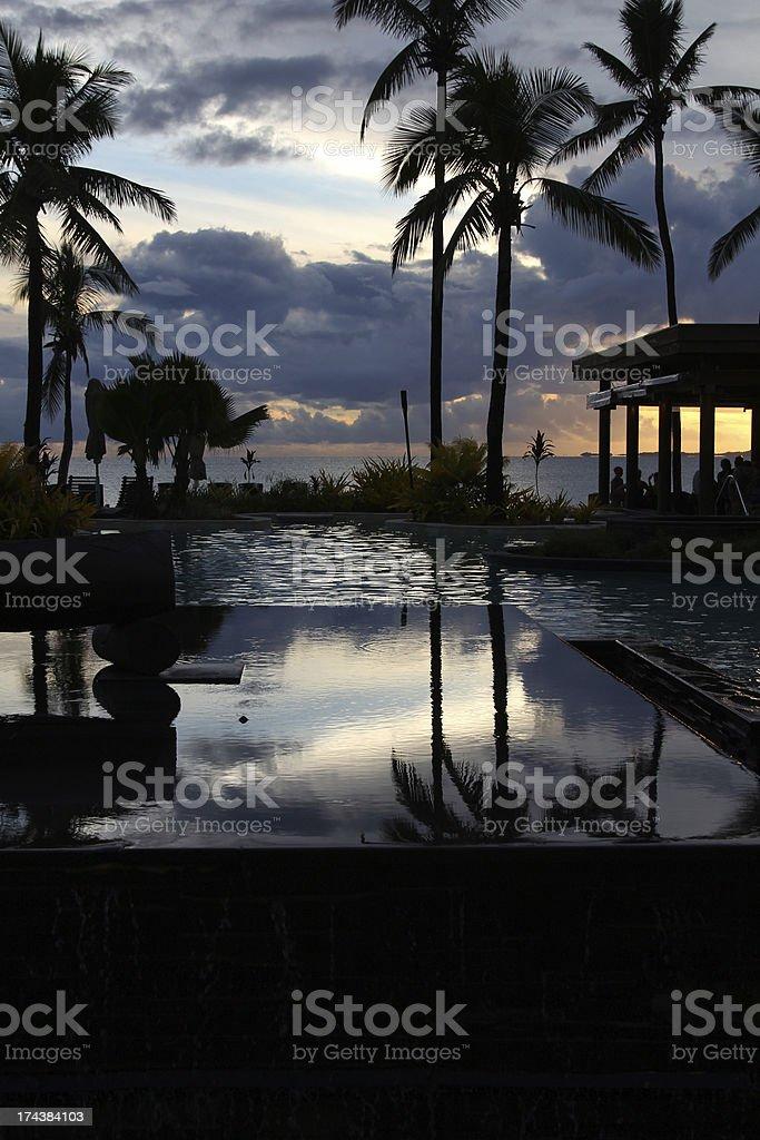 Tropical Resort at sunset, Denarau Island, Fiji stock photo