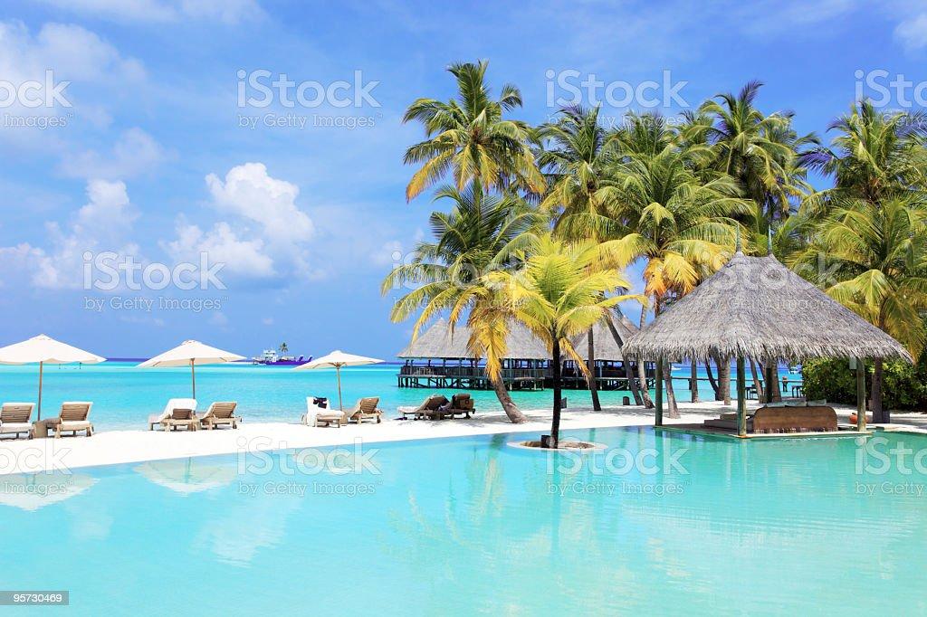 Tropical resort in Maldives. royalty-free stock photo