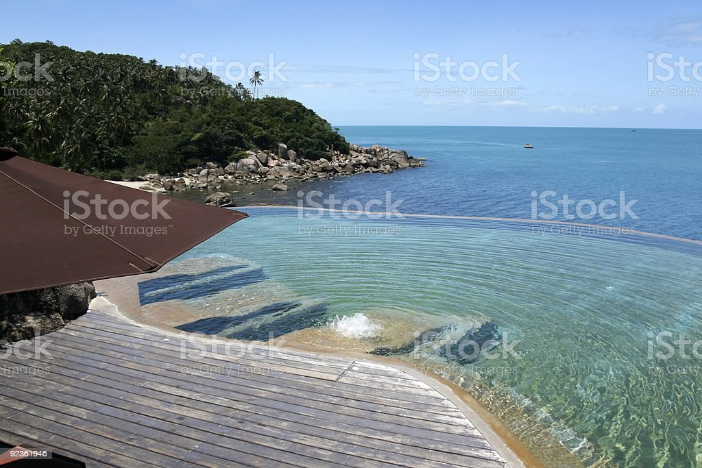 tropical resort infinity pool royalty-free stock photo