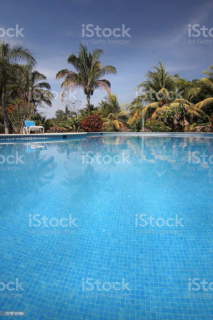 Tropical resort outdoor pool royalty-free stock photo