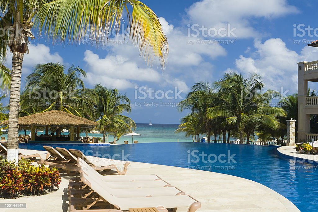 A tropical resort pool in front of the ocean stock photo