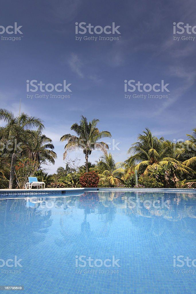 Tropical resort pool reflection royalty-free stock photo