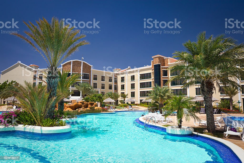 Tropical Resort Swimming Pool in the Caribbean stock photo