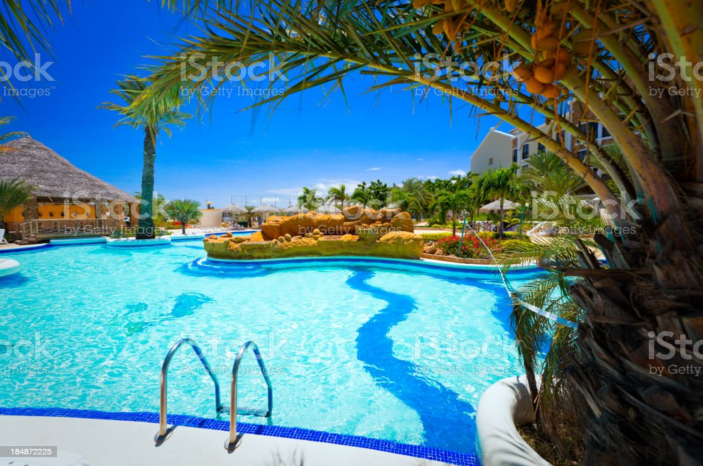 Tropical Resort Swimming Pool in the Caribbean royalty-free stock photo