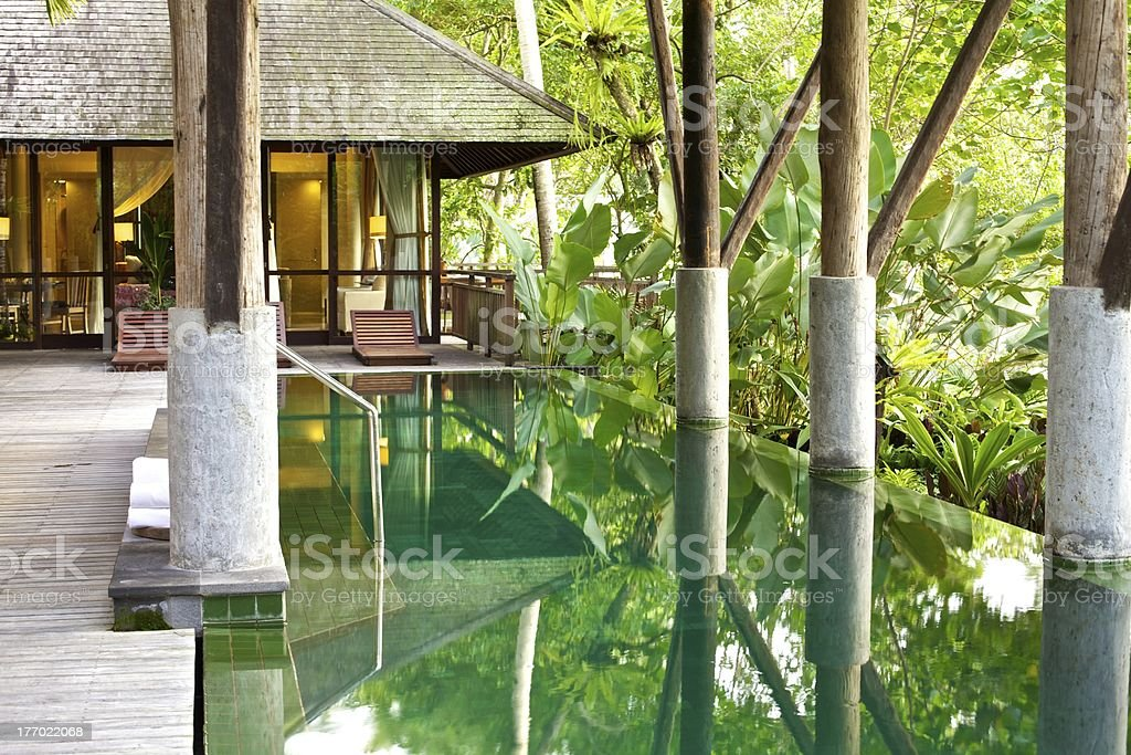 Tropical Resort Villa with Infinity Pool stock photo