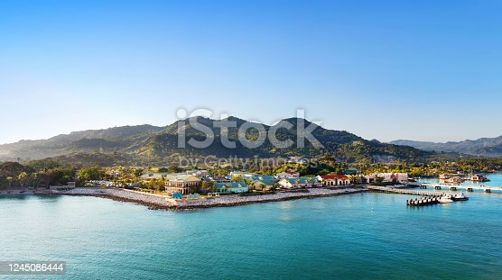istock Tropical resort with pier 1245086444