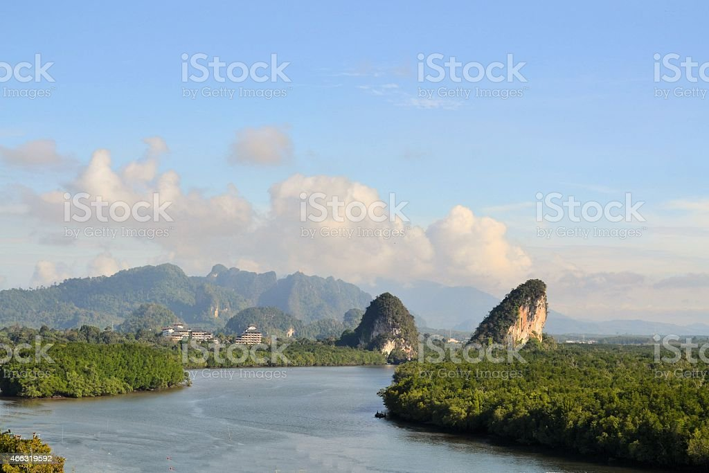 Tropical river and mangrove in Krabi, Thailand stock photo